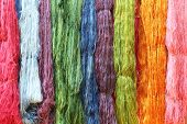 pic of silk worm  - Colorful raw silk thread in the silk farm - JPG