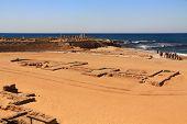 stock photo of great horse  - Hippodrome  ruins in Caesarea Maritima National Park - JPG