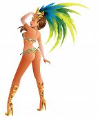 picture of pageant  - A beautiful carnival girl wearing a festival costume is dancing - JPG