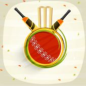 image of cricket ball  - Cricket sports concept with shiny bats - JPG