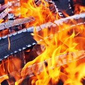 stock photo of ember  - Burning down fire with  last embers and ashes - JPG