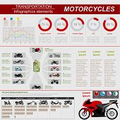 foto of dragster  - Set of motorcycles elements - JPG
