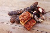 picture of pretzels  - fresh mix of baguettes  - JPG