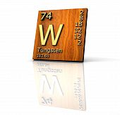 Tungsten Form Periodic Table Of Elements - Wood Board poster