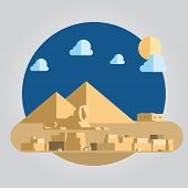 pic of pyramid  - Flat design of pyramid and sphinx in Egypt illustration - JPG
