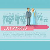 picture of extend  - Wedding poster with just married couple and extended family guests flat vector illustration - JPG