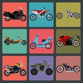 picture of motocross  - Set of nine icons of motorbikes - JPG