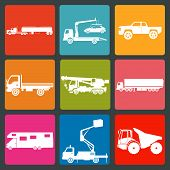 foto of tank truck  - Set of nine icons of trucks - JPG