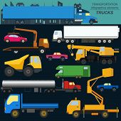 picture of lorries  - Set of elements cargo transportation - JPG