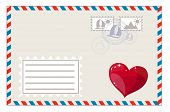 Постер, плакат: Blank envelope with heart and brands ready to ship vector illustration
