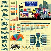 stock photo of dragster  - Set of motorcycles elements transportation infographics - JPG