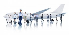image of cabin crew  - Travel Business People Cabin Crew Transportation Airplane Concept - JPG