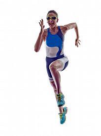 stock photo of triathlon  - woman triathlon ironman athlete runner running  on white background - JPG
