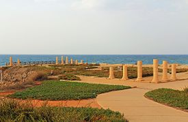 image of promontory  - Column ruins of Herods promontory palace in Caesarea Maritima National Park - JPG