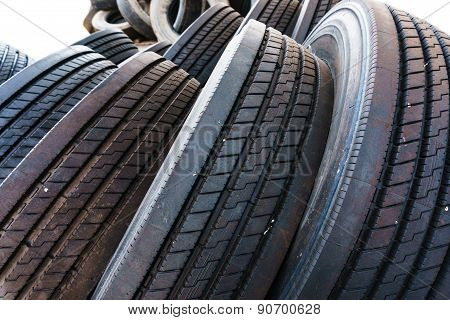 Close Up In Tire Heap With Tires Tread, Used Car Tires