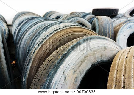 Car Tire Heap Close Up, Used Car Tires