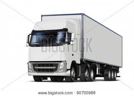 illustration of white lorry, isolated with path