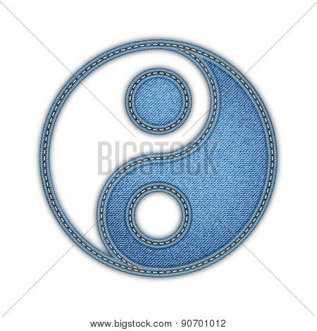 Yin Yang vector illustration in denim style