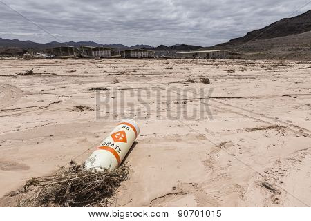 No boats buoy at drought damaged marina in Lake Mead national Recreation Area.
