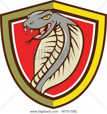 Cobra Viper Snake Head Attacking Shield Cartoon