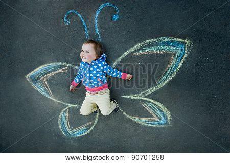 Little girl Butterfly smiling
