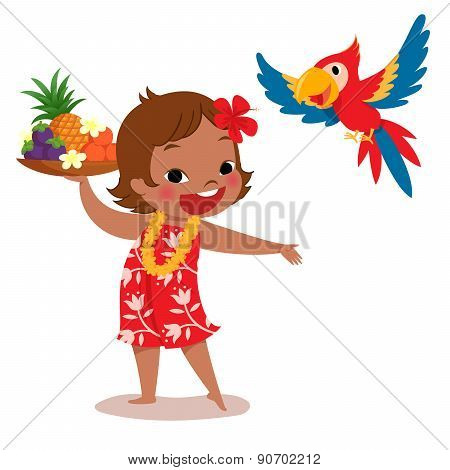 Tropical Island Girl And Parrot