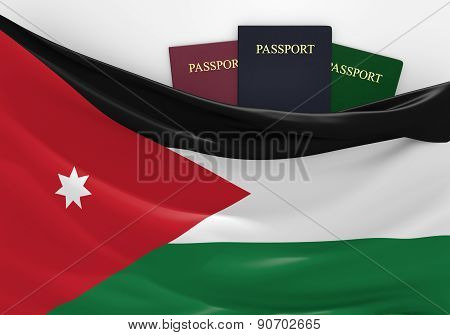 Travel and tourism in Jordan, with assorted passports