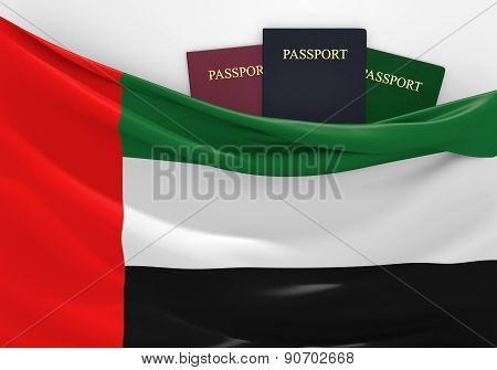 Travel and tourism in United Arab Emirates, with assorted passports
