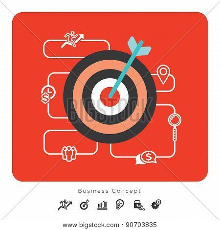 Success Business Concept Icons With Target Illustration