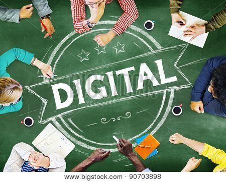 Diverse People Digital Modern Badge Banner Concept