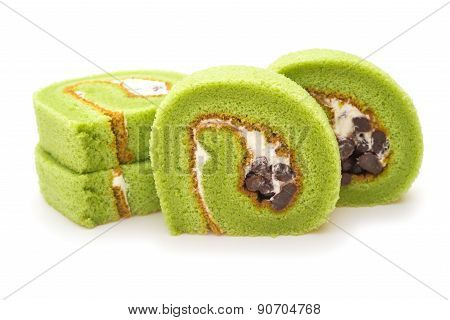 Four Pieces Of Yummy Cake Made By Green Tea And Mung Bean On A White Background