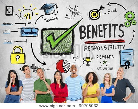 Benefits Gain Profit Earning Income People Thinking Concept