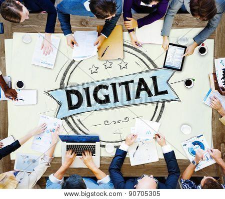 Diverse People Digital Badge Banner Concept