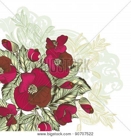 Flower Background With Hand Drawn Bouquet