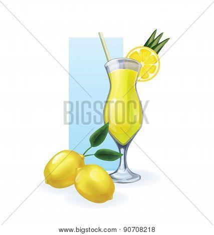 lemon in goblet of juice, cocktail, smoothie