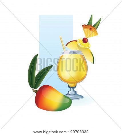 Mango in goblet of juice, cocktail, smoothie