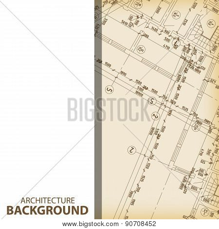Architecture blueprint fragment background