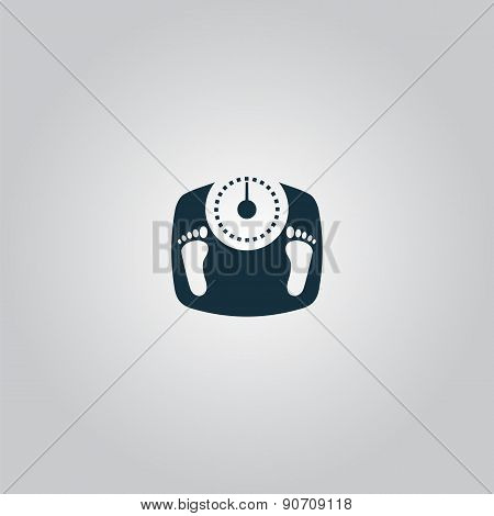 bathroom scale with footprints - vector icon