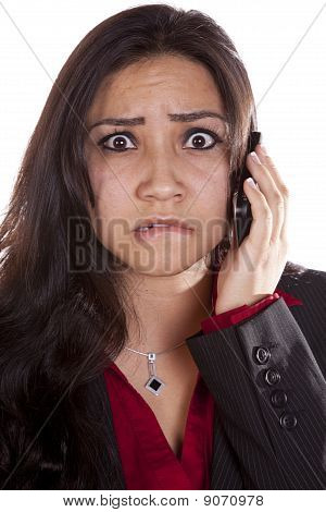 Woman On Phone Frustrated Up Close