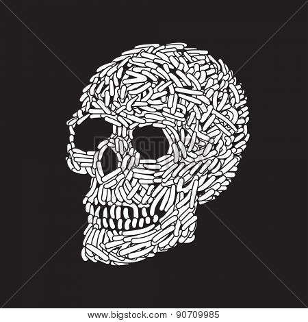 Abstract Doodle Worm Skull. Vector Illustration