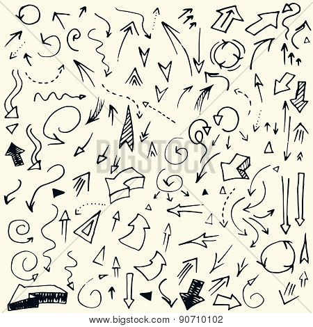 Hand drawn simple arrows set