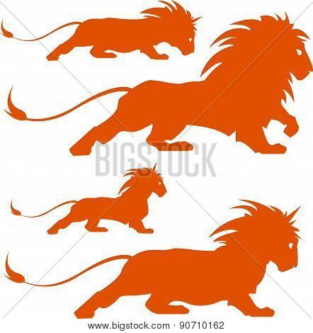 Lion Silhoettes