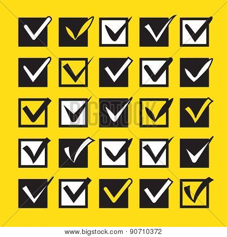 Set of different check marks in boxes on the yellow background