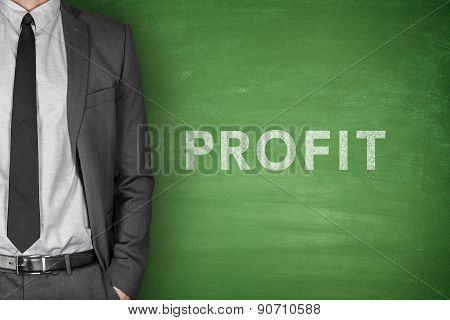 Profit text on blackboard