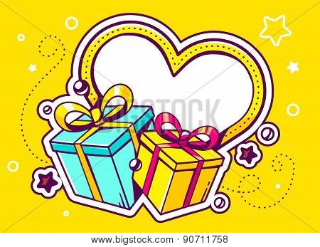 Vector Illustration Of Gift Boxes With Heart On Yellow Background With Star And Dot.
