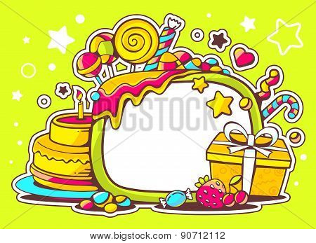 Vector Illustration Of Cake, Gift And Sweets With Frame On Green Background With Star And Dot.