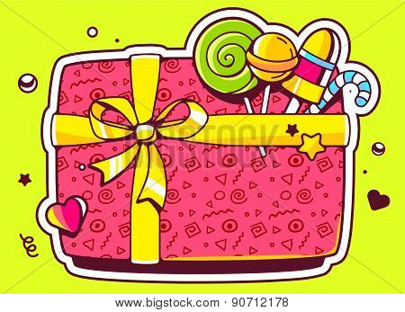Vector Illustration Of Gift Box Top View And Confectionery On Green Background.