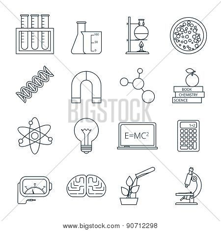 Science icons outlined icons set