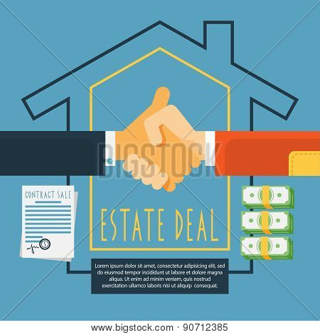 Hands handshake estate deal concept