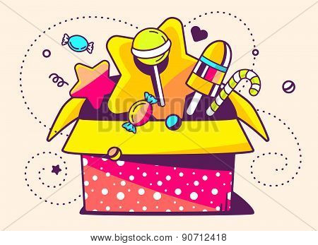 Vector Illustration Of Red Open Gift Box And Sweets On Light Background With Star And Dot.